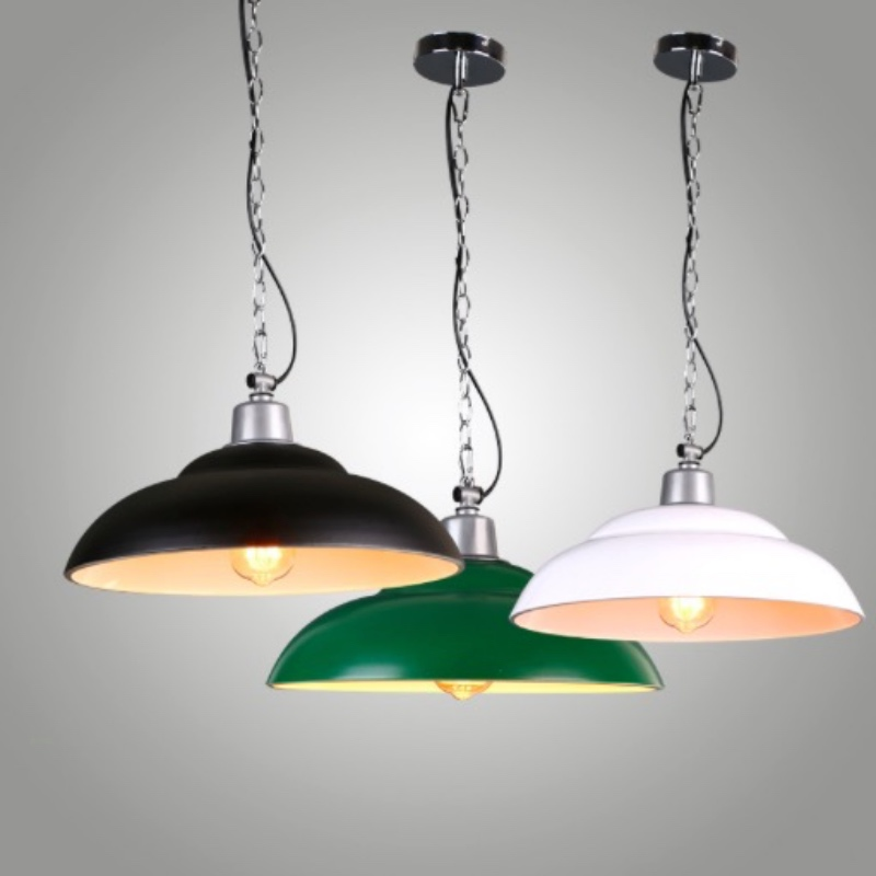 Nordic Vintage Country Painted 3 Colors Iron Led E27 Pendant light for Restaurant Living room Dining room Bar Deco Lamp 1670