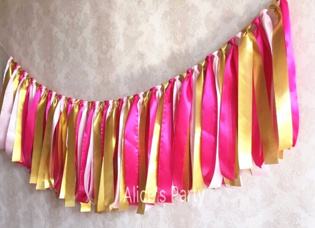 Hot Pink Light Pink Gold Rag Tie Banner Baby Girl Highchair Bunting  Birthday Garland 1st Party
