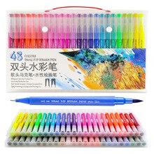 Dainayw 100 couleurs double pinceau marqueurs stylo pointe Fine dessin peinture eau encres stylos pour coloriage Manga calligraphie Graffiti