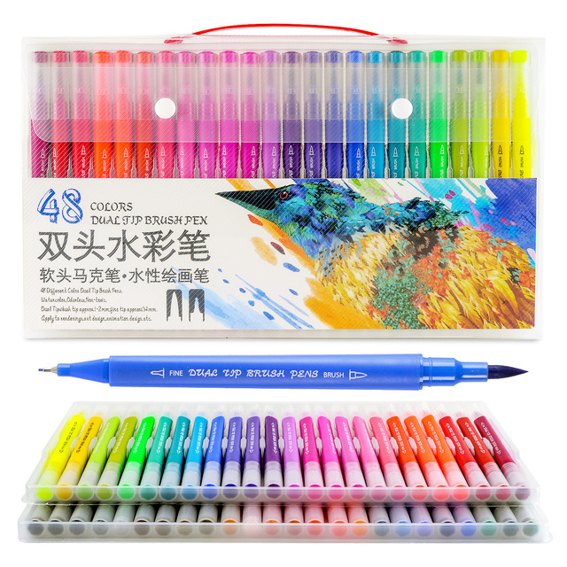 Dainayw 100Colors Dual Brush Markers Pen Fine Tip Drawing Painting Water inks Pens for Coloring Manga Calligraphy Graffiti