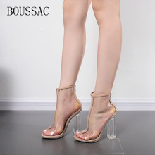 BOUSSAC 2017 new style summer shoes pumps transparent heel clear high heels sandals shoes woman high heels