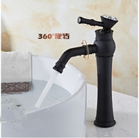 Antique Black Kitchen Faucet Brass Black Finish Basin Faucets Crystal Square Single Handle Hole Mixer Water