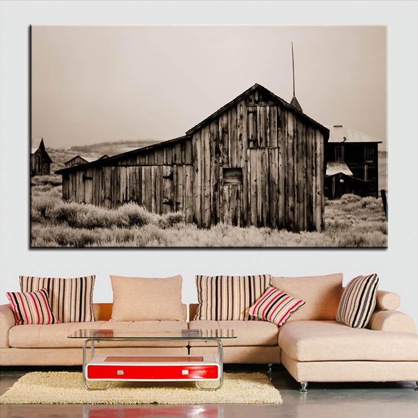 House Large Size Printing Oil Painting Ghost Town Wall