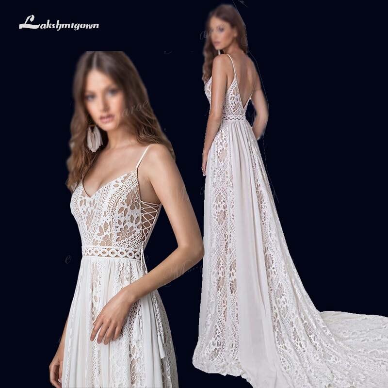2019 Boho Chic Vestidos de Casamento Torção Lace Chiffon A Linha de Cintas de Espaguete As Costas Abertas Vestido Boêmio vestido de Noiva