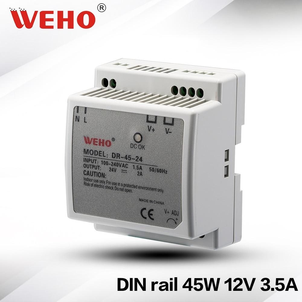 (DR-45-12) Factory outlet (85-264VAC input) din rail smps 45W 24v din rail power supply dhl ems md 240 24 1 din rail power supply metal case 24v 10a output 85 264vac input c4 d9