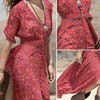 Bohemian Style Women Sexy V Neck Summer Chiffon Floral Print Split Maxi Dress 3 4 Sleeve