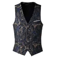 Luxury Brand Causal Slim Men Prom Tuxedo Vests Suit Waistcoat Wine Red Black