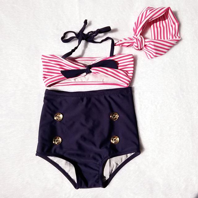 2017 Baby/Infant Girls Kids Tankini Bikini Suit Button Striped Bottoms Beachwear Swimsuit Swimwear Girl's Bathing Suit GBK011