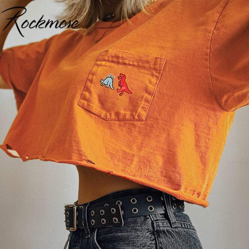 Rockmore Summer Cotton Dinosaur Embroidery T-shirt Women Pockets Loose Short Sleeve Casual Tshirt  Female Crop Tops Tees Girls