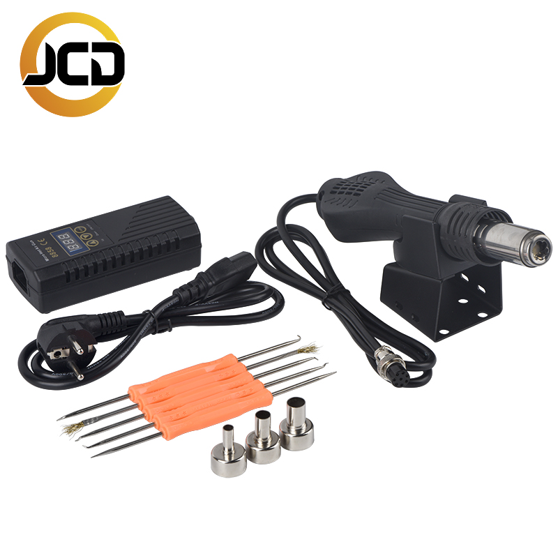 JCD Micro hot air gun 8858 soldering welding rework station 700W LCD Digital Heat 24V Hot Air Blower Ceramic Heating element