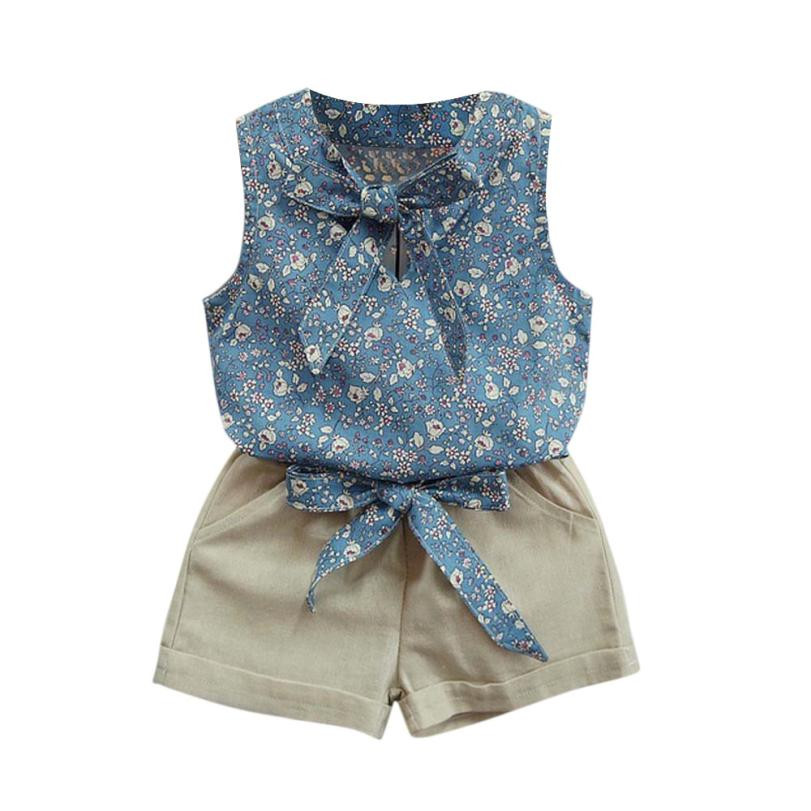 2017 Kids Girls Floral girls summer sets Bowknot Vest T-Shirt+Shorts Outfits Clothes Set Toddler Baby Clothing sets Kids toddler baby kids girls clothes sets summer lace tops t shirt short sleeve denim jeans pants cute outfits clothing set