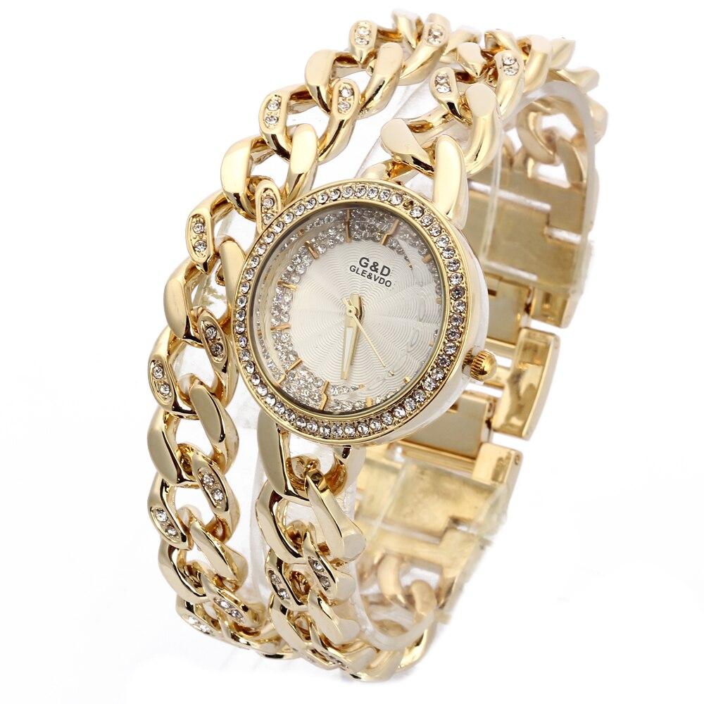 2018 G & D Gold Luxe Dames Armband Horloges Vrouwen Quartz Horloges Rvs Rhinestone Reloj Mujer Relogio Feminino