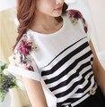 Blusas femininas mulheres blusas de marca 2016 estilo verão Stripe O-pescoço plus size branco chiffon blusa floral manga curta camisas