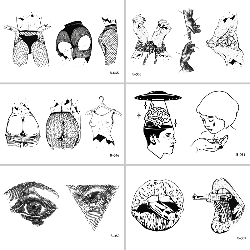 Sexy Woman Body Mouth Gun Eyes Waterproof Temporary Tattoo Stickers for Adults Body Art Fake Tatoo