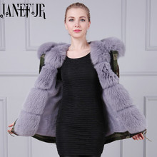 Wholesale New Arrival design short style Snake beading fox fur hood with Faux fur winter coat