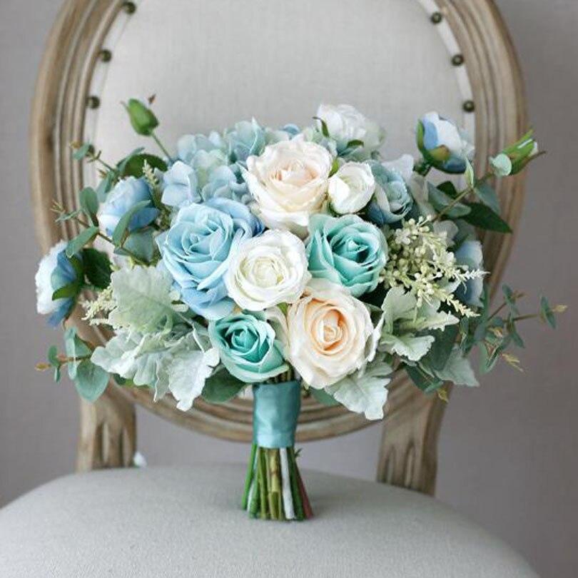Light Blue Flowers For Weddings: New Arrival Light Blue Bridal Bouquet Custom Artificial