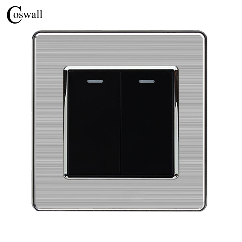 Coswall 2 Gang 2 Way Luxury Light Switch Push Button Wall Switch Interruptor Stainless Steel Panel AC 110~250V