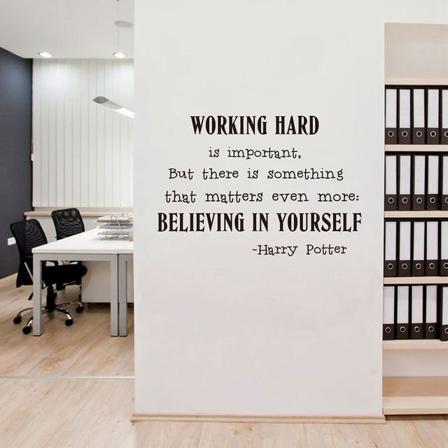 Ordinaire Inspiring Wall Stickers Quotes Harry Potter Believe In Yourself Office  Fashionable Vinyl Home Decor Modern Murals