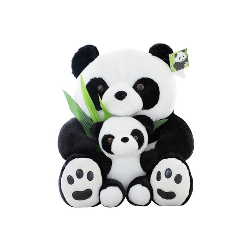 1pcs 25CM Sitting Mother and Baby Panda Plush Toys Stuffed Panda Dolls Soft Pillows kids toys Good Quality Free Shipping kids toys plush panda doll cute red panda simulation animal raccoon dolls holiday gifts