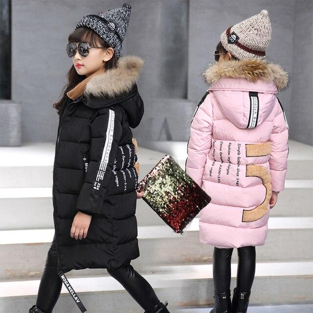 new styles 12af2 b7137 US $29.8 |Neue Mädchen Winter Jacken Dicken Mantel Baumwolle Gefütterte  Natürliche Fell Kapuze Kinder Jacke für Mädchen Kleidung Kinder Kleidung ...