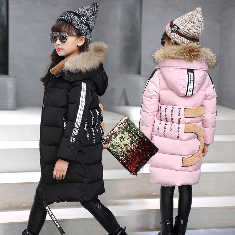 New Girls Winter Jackets Thick Coat Cotton Padded Natural Fur Hooded Kids Jacket for Girls Clothes Children Clothing Parkas Girl aimeixiuyi children real raccoon fur cotton padded jacket coat winter kids clothes boys girls warm hooded parkas outerwear