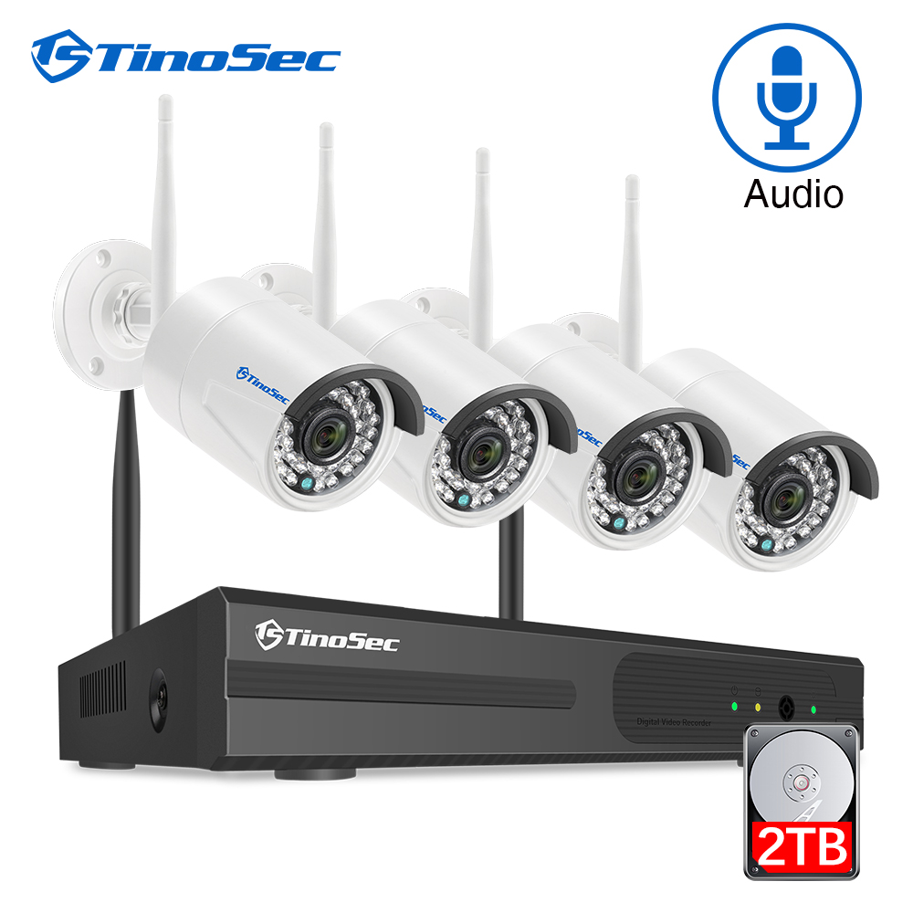 TinoSec H.265 CCTV System Audio Wireless Camera Home Security 1080P Outdoor Waterproof Wifi NVR Kit Video Surveillance System