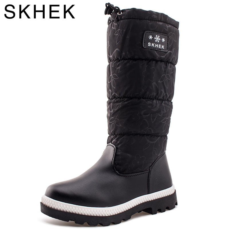 HOT SKHEK Brand Winter Girls Botas Children Shoes For Girl Boy Boots Water-proof Oxford Cloth Kids Snow Boots Plush Shoes