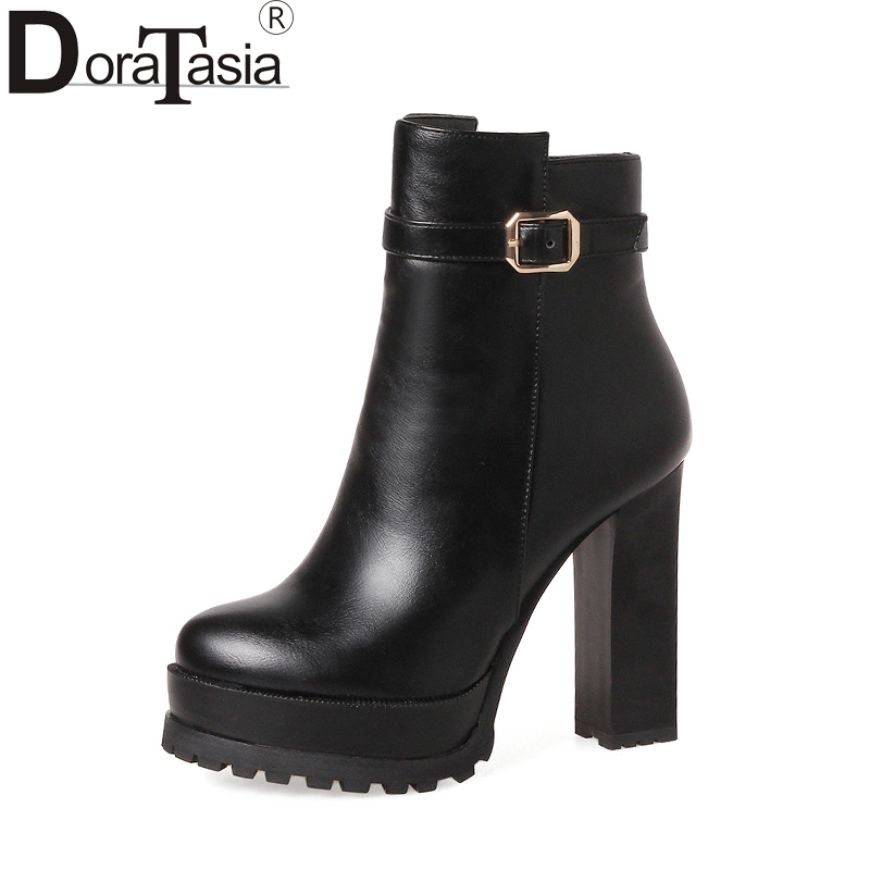 DoraTasia New Hot Sale Big Sizes 33-43 2018 Square High Heels Fashion Woman Shoes Boot Women Party Ankle Boots BlackDoraTasia New Hot Sale Big Sizes 33-43 2018 Square High Heels Fashion Woman Shoes Boot Women Party Ankle Boots Black