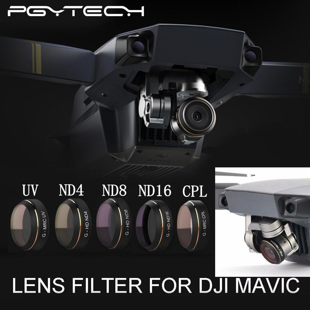 PGY G-UV ND4 ND8 ND16 CPL HD Lens Filters Set for DJI MAVIC Pro Drone Quadcopter Parts pgy fpv skin for dji inspire1 5d carbon fiber waterproof uv decals stickers set quadcopter drone rc parts accessories