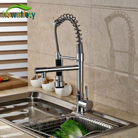 Contemporary Bright Chrome Kitchen Spring Mixer Faucet Dual Water Spout Swive Pull Down Cold Hot Water Tap