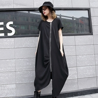 2018 New Fashion Cool Style Zipper Women Midi Dress Irregular Hem Vintage Short Sleeve O Neck