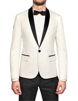Hop Selling New White Jacket With Black Satin Lapel Groom Tuxedos Groomsmen Best Man Suit Men Wedding(Jacket+Pants+BowTie+Girdle