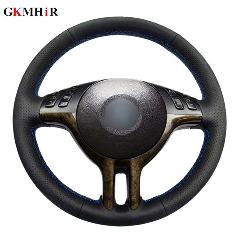 DIY Black Steering Wheel Cover Soft Artificial Leather Car Steering Wheel Cover For BMW E39 E46 325i E53 X5