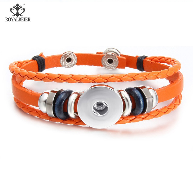 ROYALBEIER Hot Sale Handmade 12 Colors Multilayer Braided Leather 18mm Snap Button Bracelet High Quality Bracelets For Women