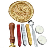 Flame Vintage Rosewood Wax Seal Stamp Set With Gold Red Silver Sticks
