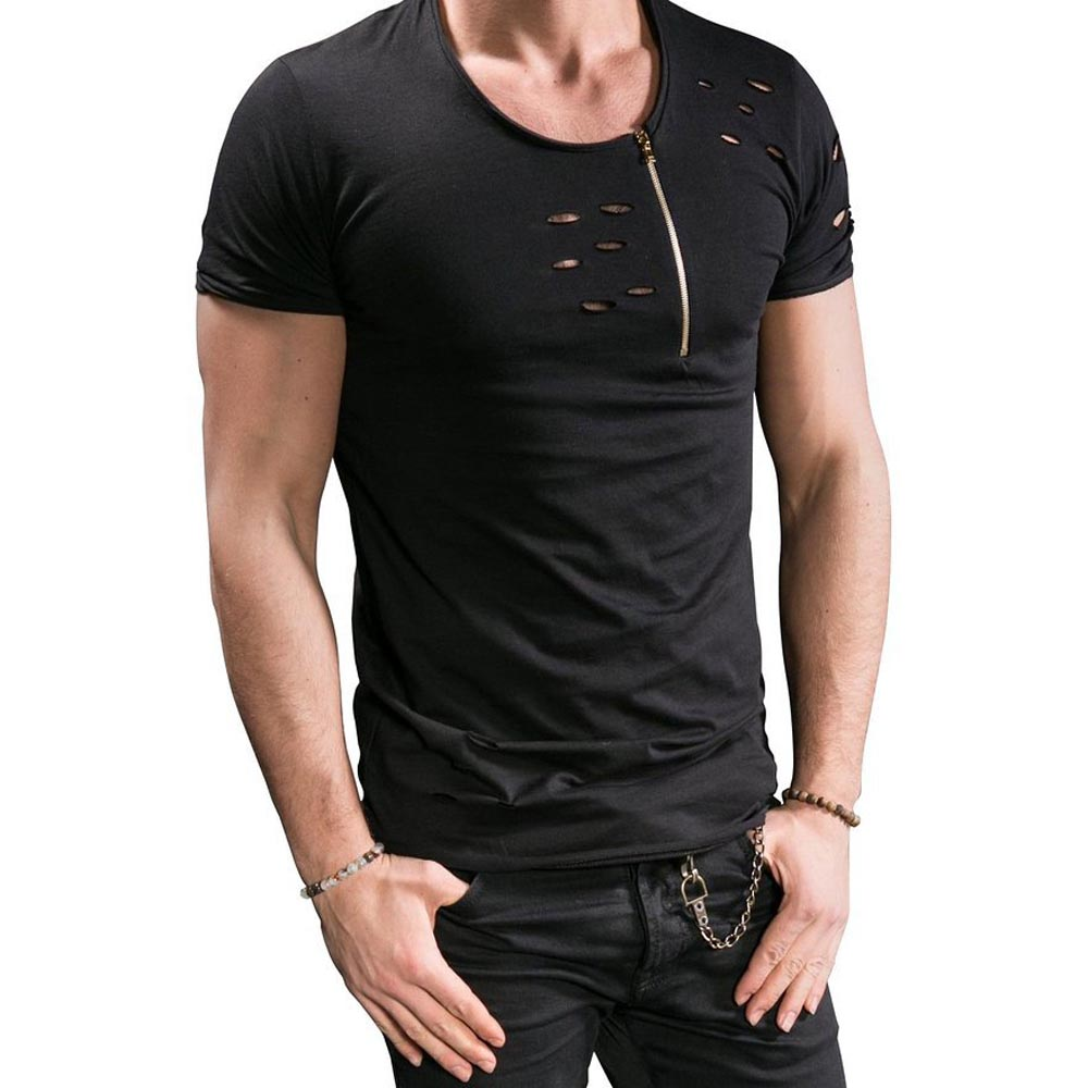 Summer Mens Fashion Cool t-särk tõmblukk augud Slim Tees brändi - Meeste riided - Foto 5