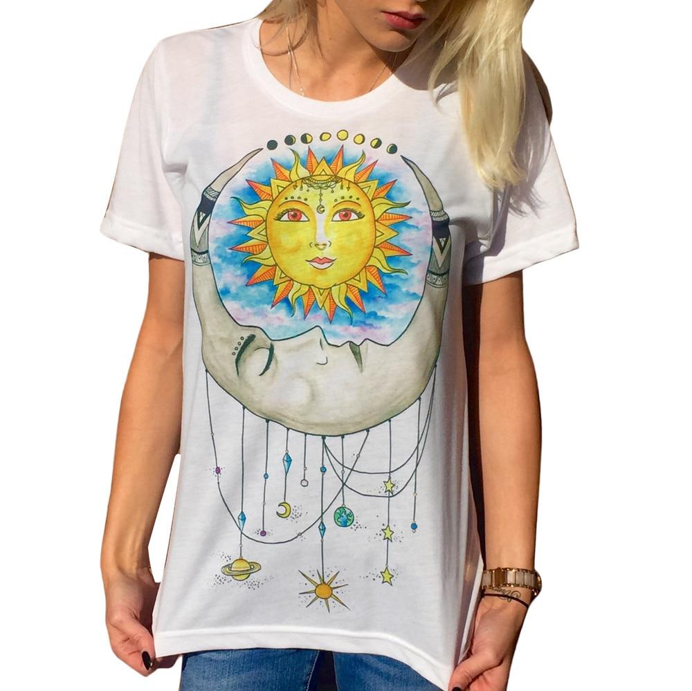 T Shirt Women Sun Moon Printed Short Sleeve T Shirt Casual Summer ... 27ed7f762