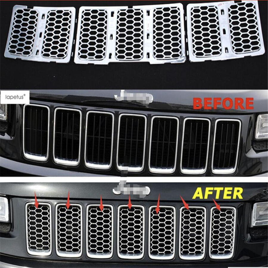 Lapetus Accessories For Jeep Grand Cherokee 2014 2015 2016 Front 3D Mesh Racing Grilles Honeycomb Grid Net Cover Kit Trim
