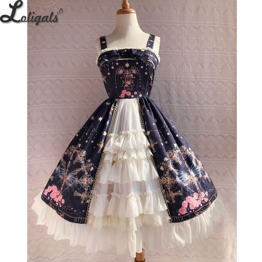 Sweet Cross Flower Printed Sleeveless Lolita JSK Dress Plus Size Fairy Party Gown by Yiliya Pre