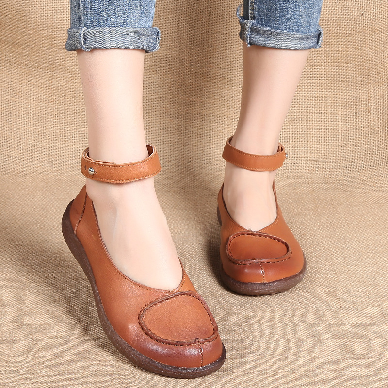 National Style Retro women's Shoes Flat Bottom Wild middle-aged Mother Shoes Female Leather Comfortable Soft Bottom HDX-1830 spring new mother single shoes female leather soft bottom leisure work shoes comfortable middle aged large size leather shoes