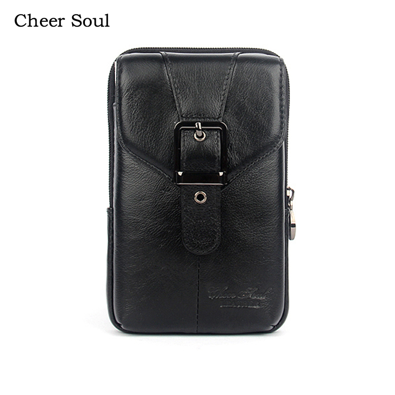 CHEER SOUL Genuine Leather Male Casual Waist Bag Cell/Mobile Phone Coin Purse Pocket Belt Fashion Cowhide Men Bum Pouch Pack