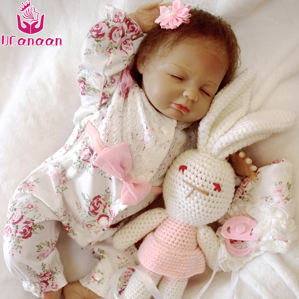 UCanaan 18 Sleeping Baby Doll Sweet Girl Alive Silicone Dolls Reborn Best Birthday Gifts Toys For Children Speelgoed