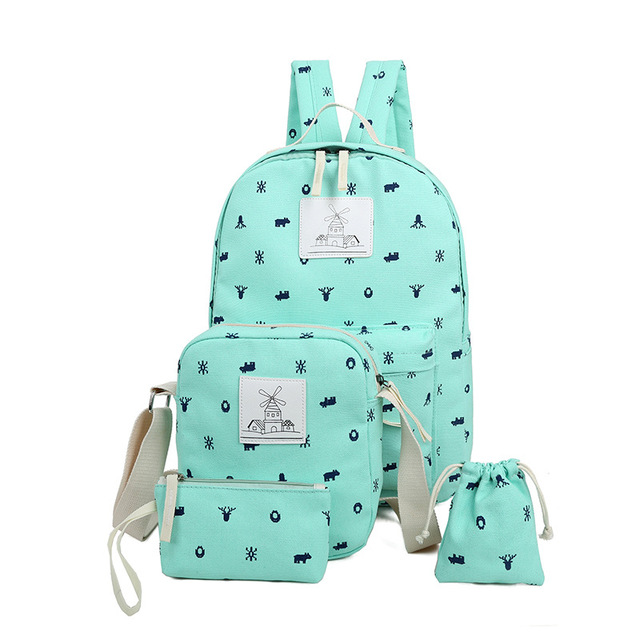2017 Fashion School Bags For Agers Cute Printing Canvas Women Backpack Mochila Casual Bag