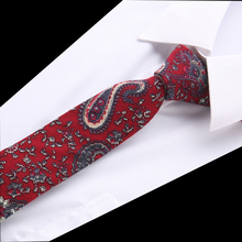 New Floral Paisley Print Linnen and Cotton Skinny Ties for Men 5.5 width Goom Slim Neckties High Quality Adult Neck Tie