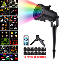 DHL Free Shipping 16 Pattern Christmas Laser Snowflake Projector LED Outdoor Waterproof Home Garden Star Light