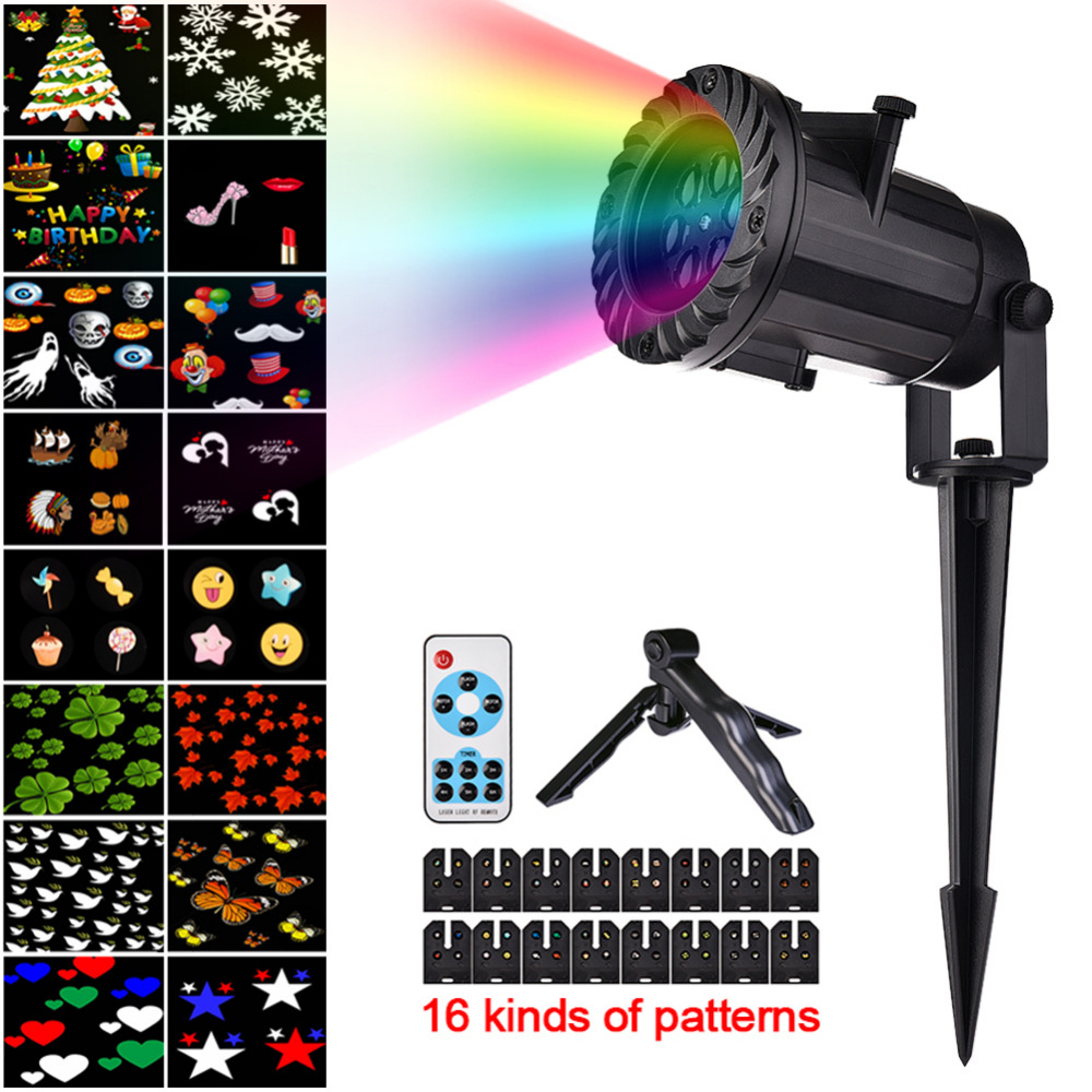 DHL Free Shipping 16 Pattern Christmas Laser Snowflake Projector LED Outdoor Waterproof Home Garden Star Light Indoor Decoration