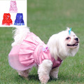 Clothes For Dogs Dog Princess Wedding Apparel Dress Pets Dog Clothes Summer Dresses Skirt Bowknot Lace dresses for Dogs Puppy