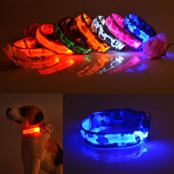 LED Pet Dog Collar Camo Print LED Night Safety Light Glow Luminous Flashing Lights Neck Collar For Small Meidum Large Dogs Cats