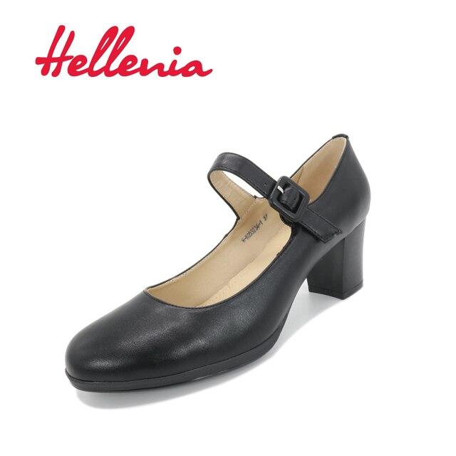 Hellenia Women Shoes Black Office Lady Shoe Dress Fashion Pumps Party Middle Heel Leather Sock