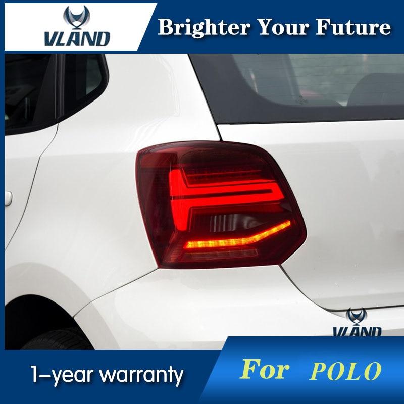VLAND стайлинга автомобилей светодиодный хвост лампа для VW Polo 2009 2018 задние фонари drl + сигнала + Тормозная + обратный
